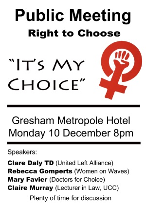 Cork public meeting on women's right to choose
