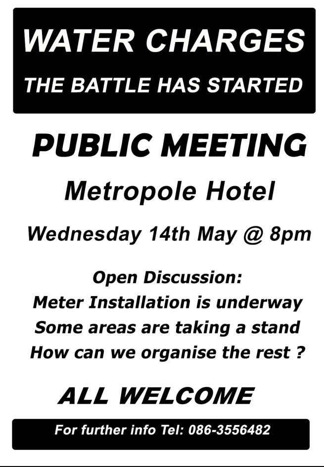 Anti-water meters public meeting tonight in Cork